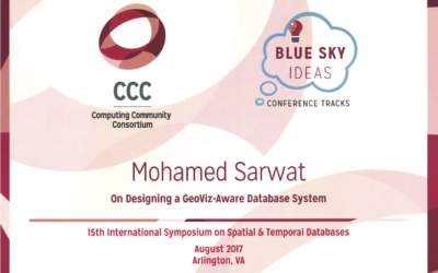 Computing Community Consortium (CCC) Blue Sky Ideas award for best vision papers (3rd place) in SSTD 2017